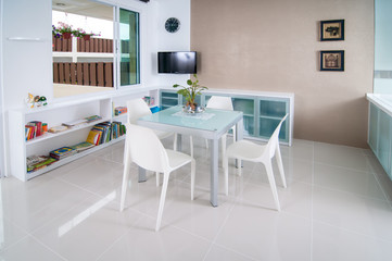 Dining room with TV