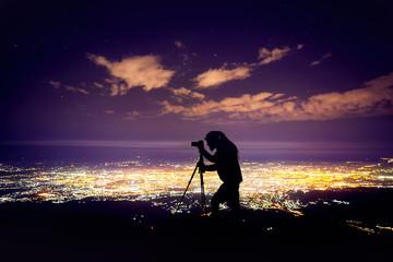 Photographer at night sky
