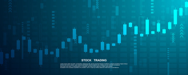 Candle stick graph chart in financial market , Forex trading graphic concept.Stock exchange market, investment, finance and trading. Trading platform. Vector illustration.