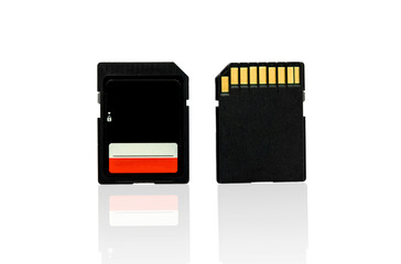 Black SD Memory Card isolate on a white background with shadow reflection, With clipping path.