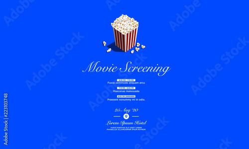 film festival vector invite illustration with popcorn tub and venue