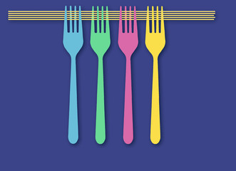 Spaghetti and forks are pictured in this food illustration on a blue background.  are seen in this illustration.