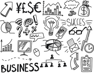 Vector illustration with hand drawn business doodles with diagrams, humans and ideas bulbs