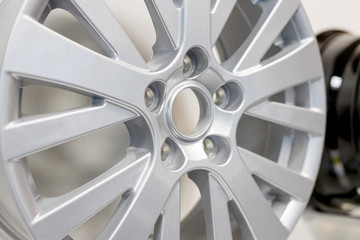 Alloy Car Wheel Isolated . Side View of Polished Chrome Car Rim. Truck Aluminum Wheel. Steel Wheels. Clipping Path.Selective focus.automobile service center