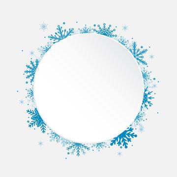White Circle Snowflakes New Year or Christmas.