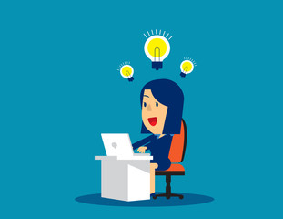 Businesswoman working and creation of ideas bulb. Concept business vector illustration, Bulb and Ideas, Working & happy.