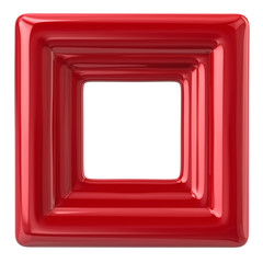 Blank red photo frame 3d illustration on white background