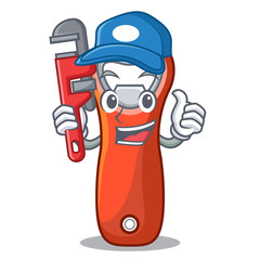 Plumber opener bottle cap isolated on mascot