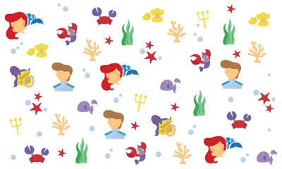 Little mermaid cartoon pattern