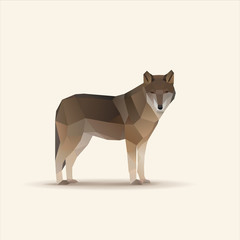 Polygonal vector illustration of watching wolf