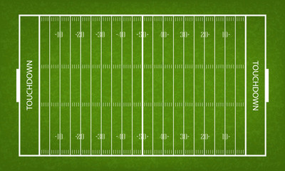 American football field. Green grass pattern and texture for football sport background. Vector.