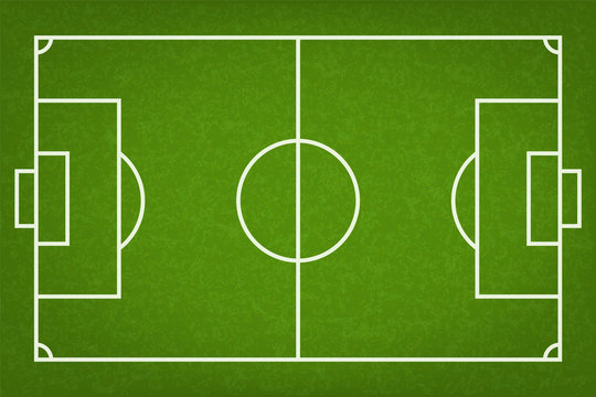Football field or soccer field background. Vector green court for soccer game.