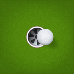 Golf ball and golf hole on green grass background. Vector.