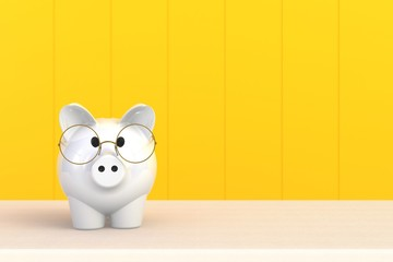 Close up of piggy bank isolated on yellow background, Copy space, Finance concept, 3d rendering