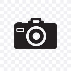 camera icon isolated on transparent background. Simple and editable camera icons. Modern icon vector illustration.