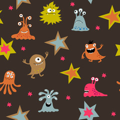 Seamless cute background with aliens on a dark background