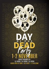 Festive party flyer of Day of the Dead. Dark background with white balloons. Vector illustration. Invitation to nightclub.