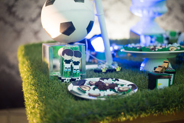 Birthday table decorated football theme