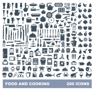 Food and Cooking flat icon set. Vector liiustration