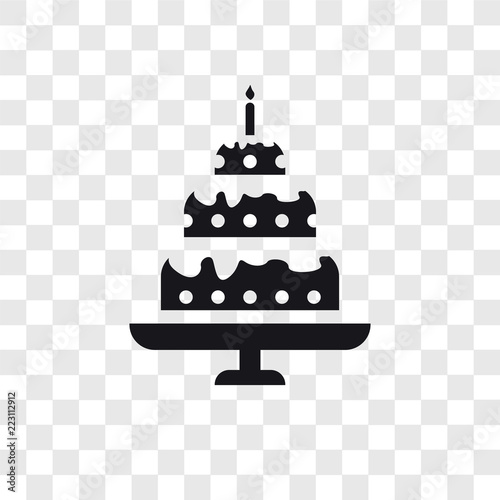 Birthday Cake Vector Icon Isolated On Transparent Background