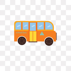 School bus vector icon isolated on transparent background, School bus logo design