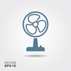 Fan Icon in flat style isolated on grey background.