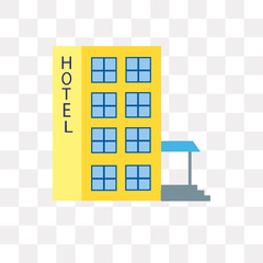 hotel icon on transparent background. Modern icons vector illustration. Trendy hotel icons