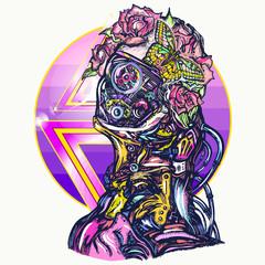 Robot woman t-shirt design. Cyberpunk art. Portrait of biomechanical girl, people of future art
