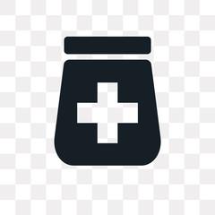 Pills jar vector icon isolated on transparent background, Pills jar logo design