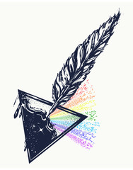 Feather and ink tattoo. Triangular prism breaks white light ray into rainbow spectral colors. Symbol of art, creative, dream, imagination t-shirt design