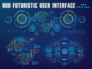 Hud blue interface dashboard, virtual reality interface, futuristic virtual graphic touch user interface, target