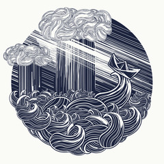 Paper ship goes by sea storm tattoo.  Symbol fear and hope, fight against difficulties. Religious concept of rescue of soul. Big waves and the small boat in ocean t-shirt design
