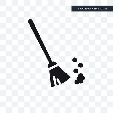 Sweeping Broom vector icon isolated on transparent background, Sweeping Broom logo design