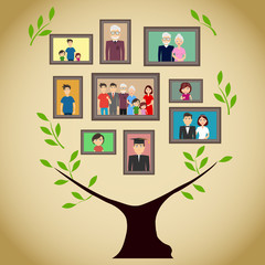 Family tree with portraits of family members. A real family tree with photos. Flat design, vector illustration, vector.