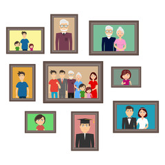 Portraits of the family, a set of family photos, a set of portraits of people. Flat design, vector illustration, vector.