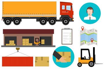 Logistics, logistics services. Freight transportation. Flat design, vector illustration, vector.