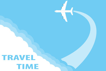 The concept of traveling by plane. Flying plane from the clouds against the blue sky. Flat design, vector illustration, vector.