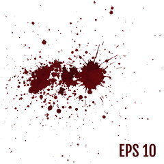 Set of various blood or paint splatters,Vector Set of different blood splashes, drops and trail. Isolated on white background. All elements are not grouped. Vector illustration.