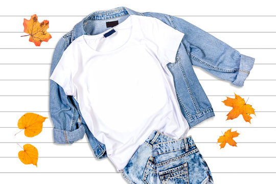 White T-shirt and Jeans Jacket on a White Background