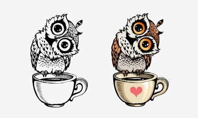 Aluminium Prints Owls cartoon Cute owls collection coloring and line isolated on white