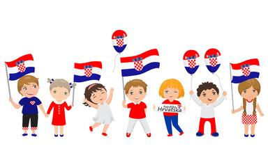 children holding Croatian flags and balloons. Vector illustration. Modern design template