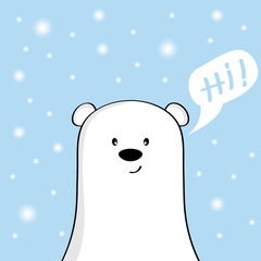 Face cute polar bear and falling snowflakes on the blue coloured background.