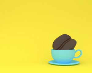 Creative made of coffee bean with blue coffee cup on yellow pastel background. minimal drink concept. Idea creatively to produce work within an advertising marketing communications