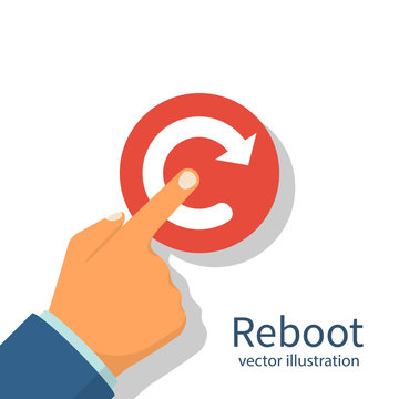Reboot concept. Restarting technology. Hand to push big red button. Vector illustration flat design. Isolated on white background.