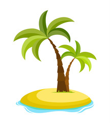 Tropical palm on island with sea waves vector illustration isolated white background. Beach under palm tree. Summer vacation in tropics. Cartoon vector illustration