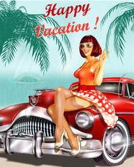 Vintage vacation background with pin-up girl and retro car.