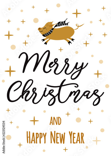 vector banner text merry christmas happy new year golden pig gold snowflakes label badge print sign
