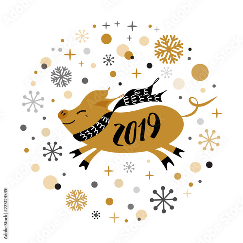 vector banner 2019 merry christmas happy new year golden pig shape gold snowflakes label badge print