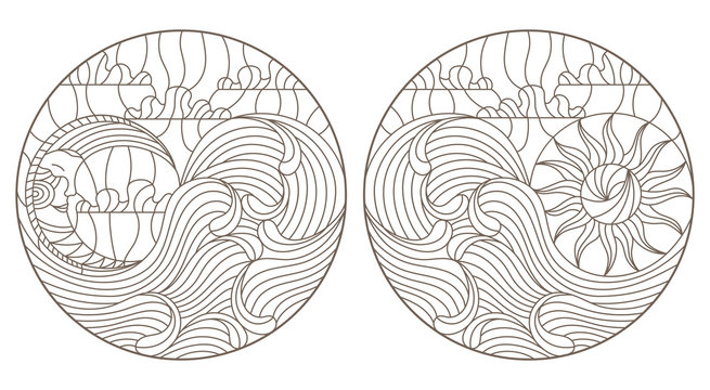 Set of contour illustrations of stained glass Windows with moon, sun and waves on sky background, round images, dark outlines on white background