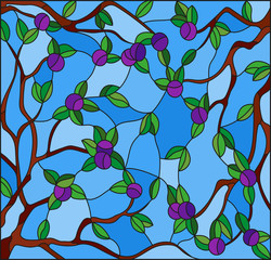 Illustration in the style of a stained glass window with the branches of plum tree , the fruit branches and leaves against the sky